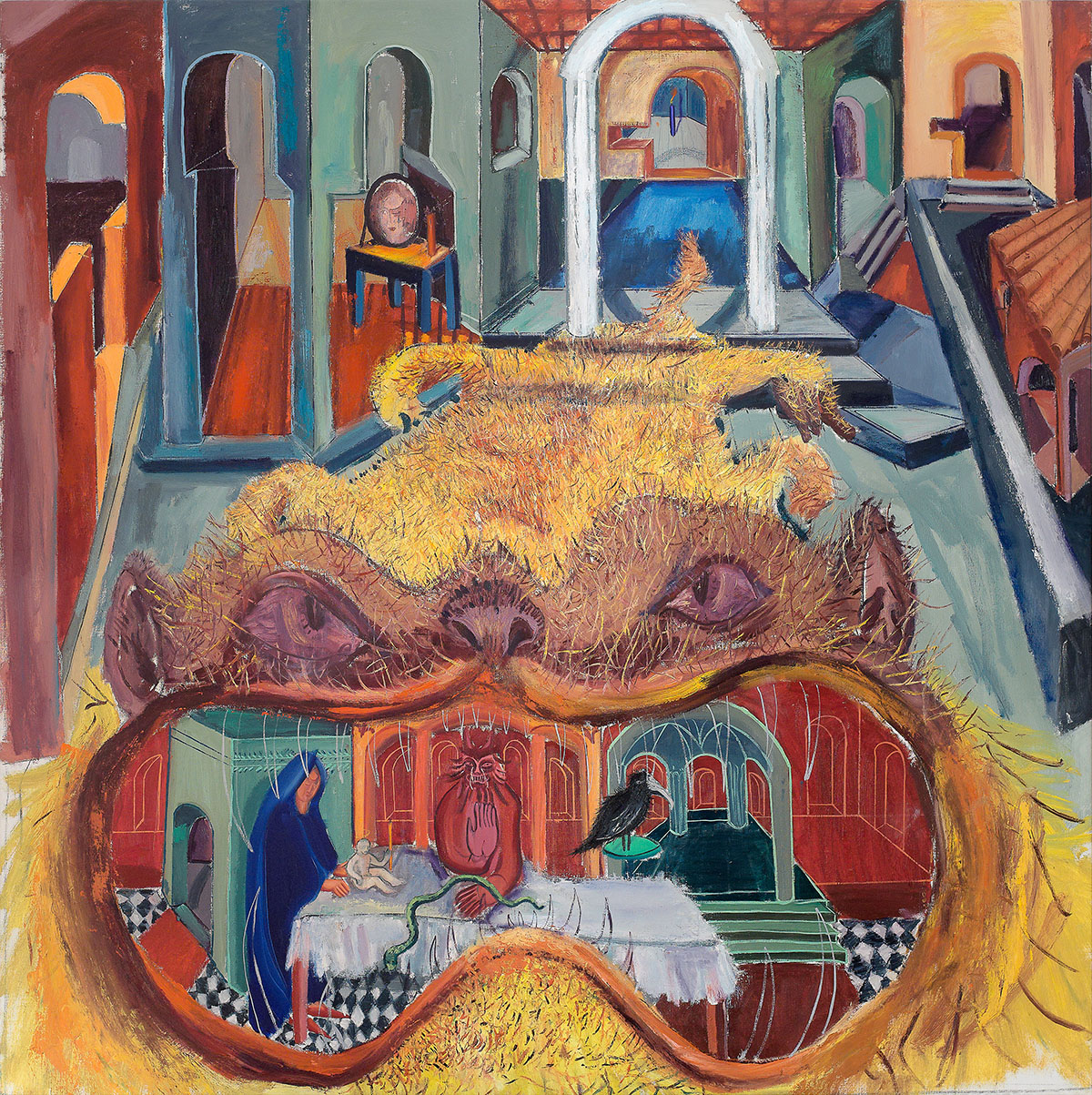 Tincuta Marin, The Monster, 189x190cm, oil on canvas, 2021