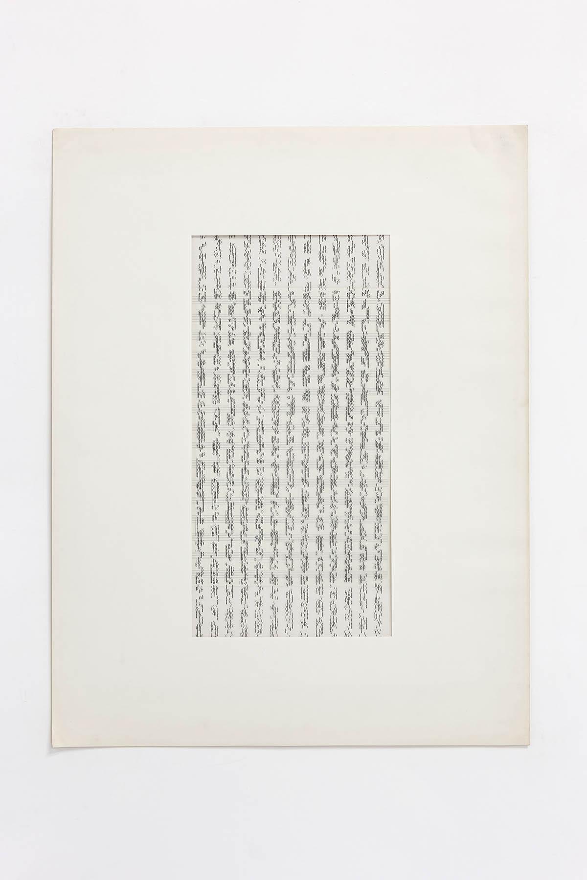 Betty Danon, Partitura asemantica (Asemantic score), 1974, indian ink on paper, cm 68 x 53 (framed), cm 65 X 50 (unframed)