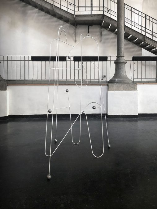 """Mother's Home"", Coated steel, oiled steel globes, raffia, 2,34x1,15x1,40 m, Semperdepot, Vienna, 2021"