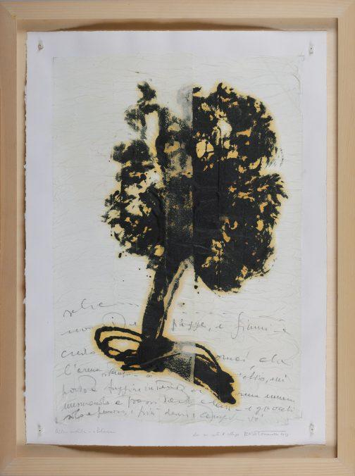 A Petrarca, 2013, olio su ovatta, collage su carta, cm. 69x50