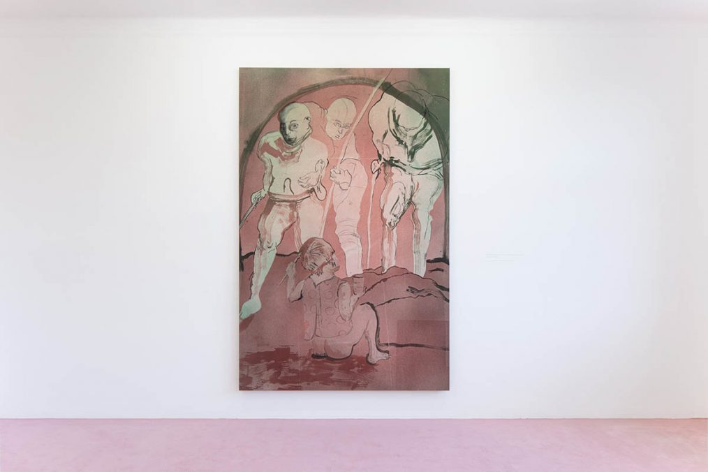 Installation view: Matthew Lutz-Kinoy. Window to The Clouds; Salon Berlin, Museum Frieder Burda Matthew Lutz-Kinoy, Thunberg Greets The Nations, 23 September 2019, 2019. Acrylic on canvas, 260 × 170 cm. Courtesy of the artist and Collection Mario Testino; Photo: Thomas Bruns