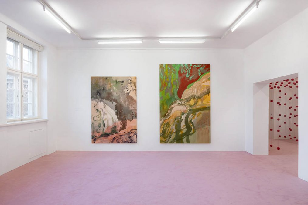 Installation view: Matthew Lutz-Kinoy. Window to The Clouds; Salon Berlin, Museum Frieder Burda Matthew Lutz-Kinoy, Vue du torrent du Valentin dans le parc des Buttes Chaumont au sud, 2020. Acrylic on canvas, 197 × 138 cm; Capriccio à Paris, 2020. Acrylic on canvas, 160 × 250 cm. Courtesy of the artist and Mendes Wood DM São Paulo, New York and Brussels; An opening of the field, 2020. Wool. Courtesy of the artist; Photo: Thomas Bruns